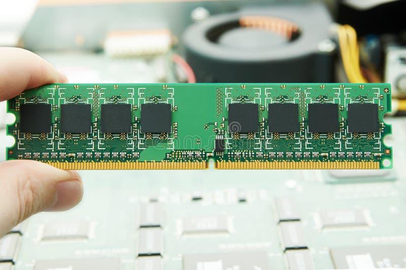 Mano que lleva a cabo memoria de computadora imagen de archivo libre de regalías