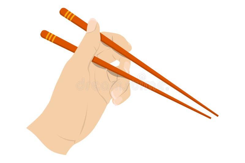 Mano que lleva a cabo pares chinos asiáticos del palillo libre illustration