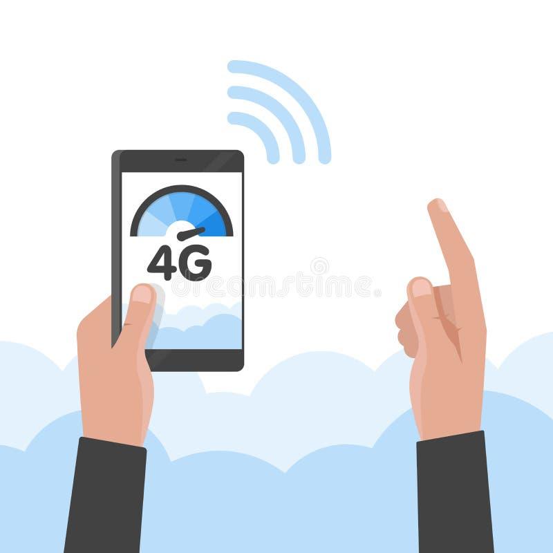 Mano que lleva a cabo tecnología rápida de Internet 4g del teléfono Ejemplo de la pantalla de Smartphone stock de ilustración