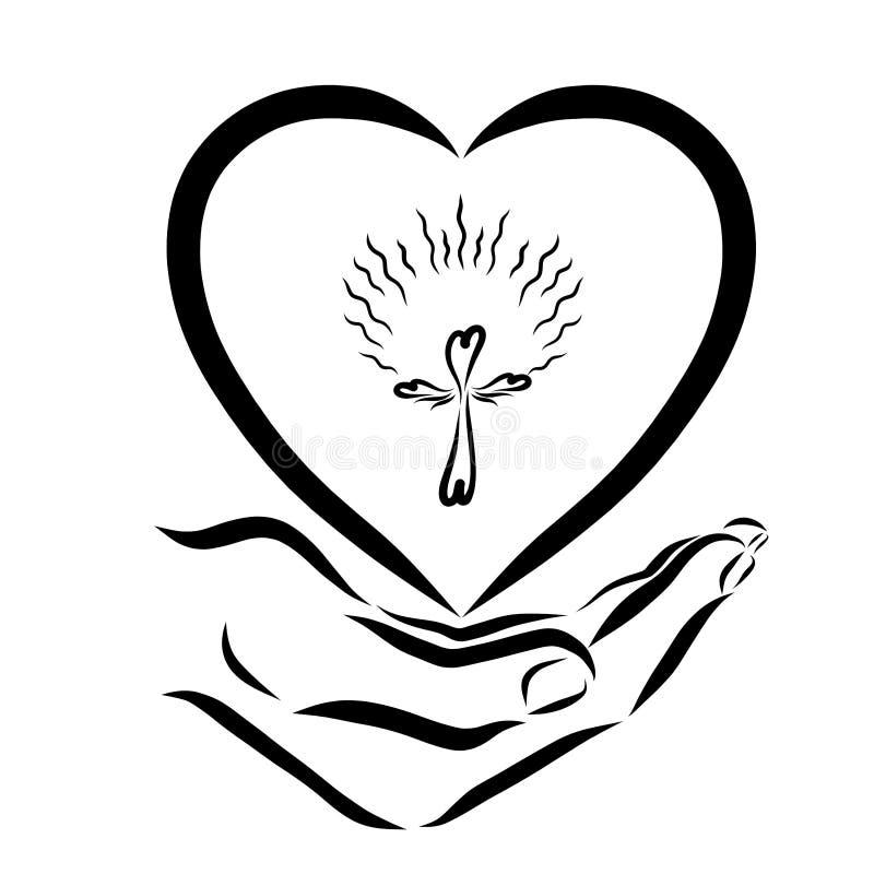 Mano que lleva a cabo un corazón con un interior cruzado brillante libre illustration