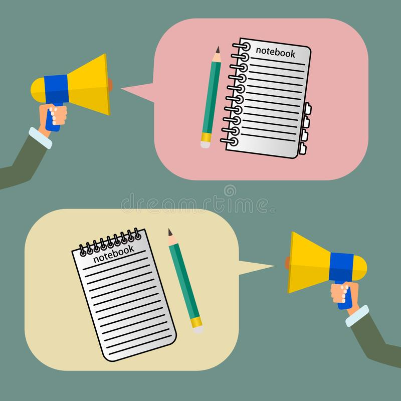 Mano que lleva a cabo un megáfono o una llamada del megáfono un booknote, vector stock de ilustración