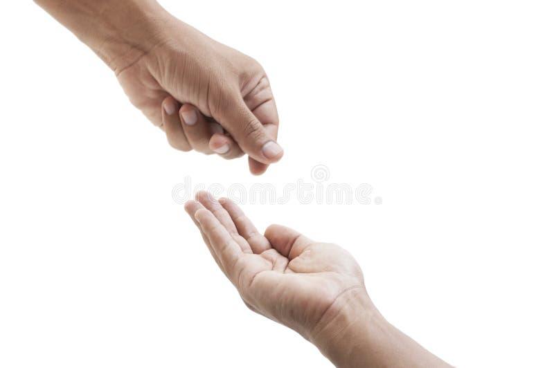 Mano que pide y donante de la mano fotografía de archivo