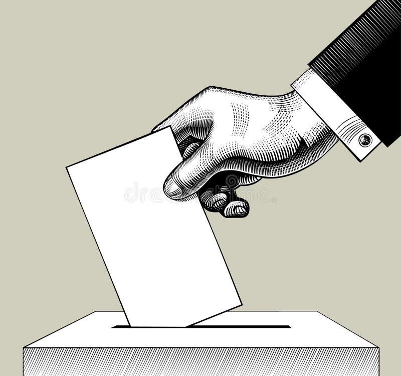 Mano que pone el papel de votación en la urna stock de ilustración