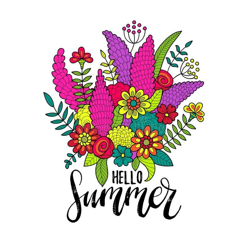Mano que pone letras a verano inspirado del cartel hola Manojo del vector de ejemplo de las flores caligrafía en el fondo blanco libre illustration