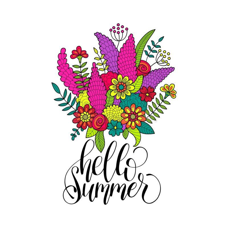 Mano que pone letras a verano inspirado del cartel hola Manojo del vector de ejemplo de las flores caligrafía en el fondo blanco stock de ilustración