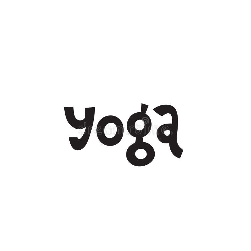 Mano que pone letras a yoga de la inscripción sobre vida y aptitud sanas, para los carteles de las citas de la motivación, texto  ilustración del vector