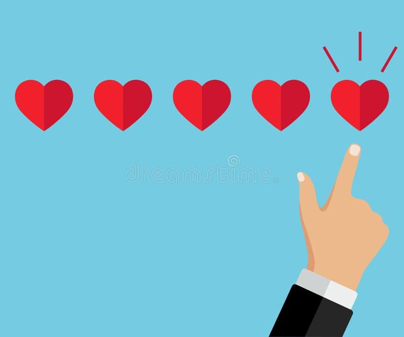 Mano que señala, finger del hombre de negocios que señala al grado de cinco corazones stock de ilustración