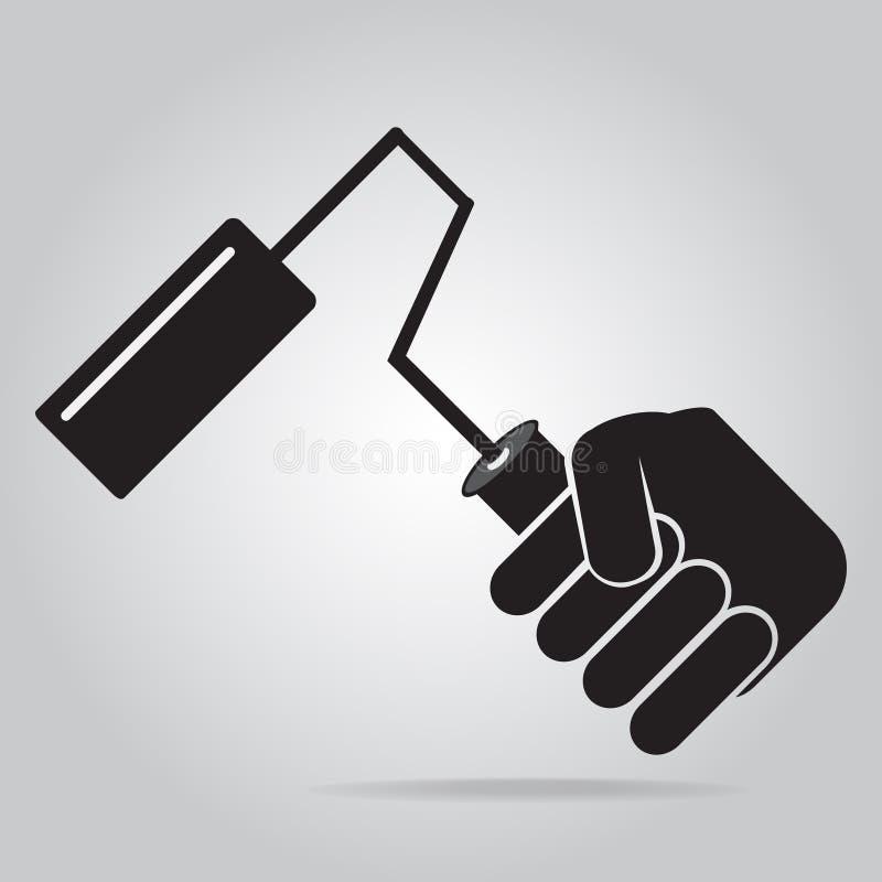 Mano que se sostiene con el icono del cepillo del rodillo de pintura libre illustration