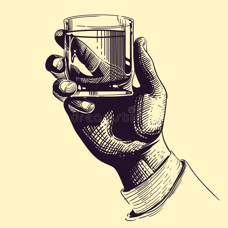 Mano que se sostiene de cristal con la bebida fuerte Ejemplo del vector del dibujo del vintage ilustración del vector