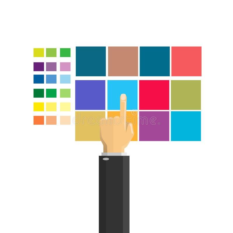 Mano que selecciona color ilustración del vector