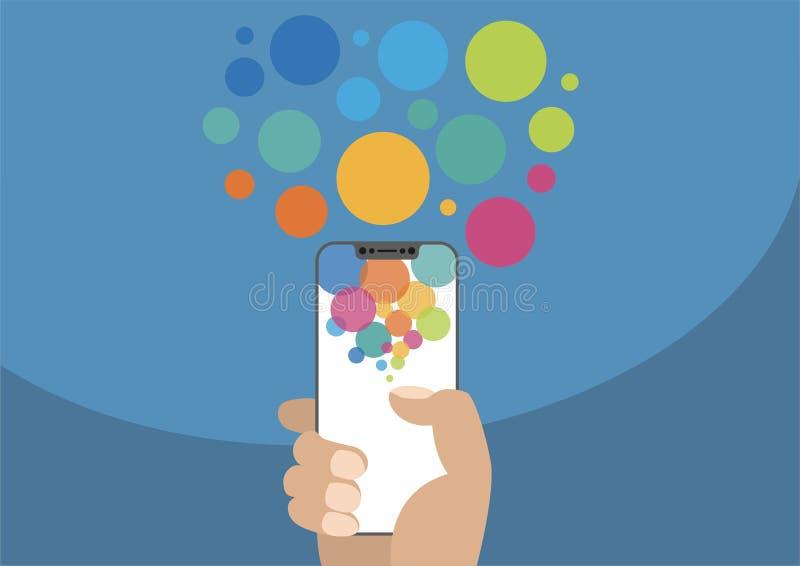 Mano que sostiene el bisel de la siguiente generación smartphone libre/frameless con la pantalla táctil como ejemplo con las burb stock de ilustración