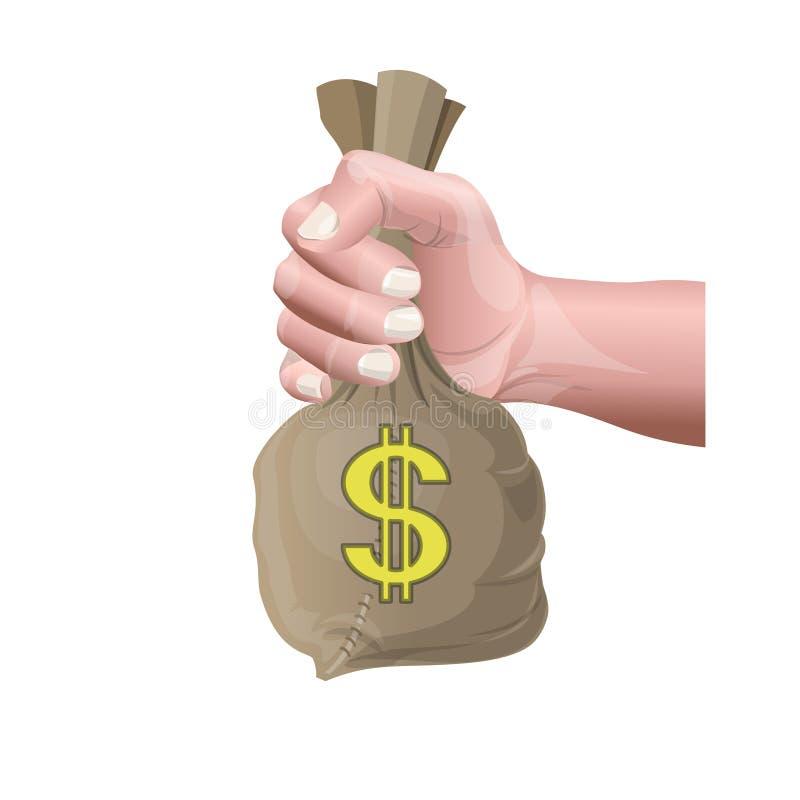 Mano que sostiene el bolso del dinero ilustración del vector