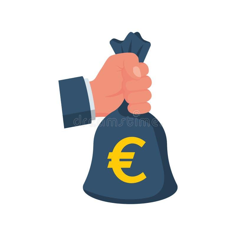 Mano que sostiene el bolso del dinero con euro stock de ilustración