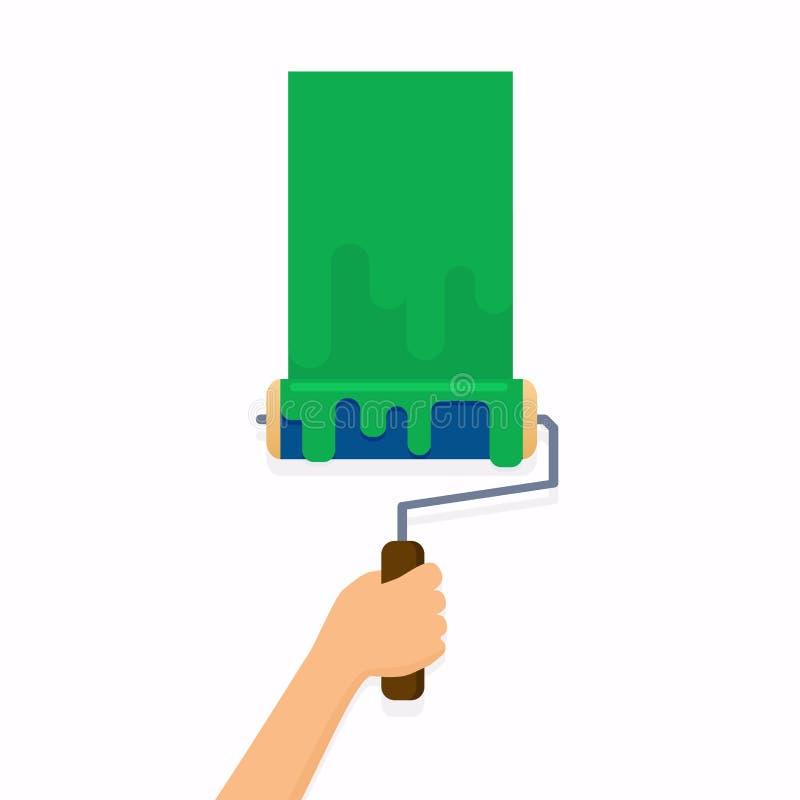 Mano que sostiene el cepillo del rodillo y que pinta una pared Moder plano del diseño stock de ilustración