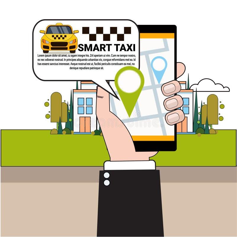 Mano que sostiene el coche del taxi del teléfono que ordena elegante con el App móvil ilustración del vector
