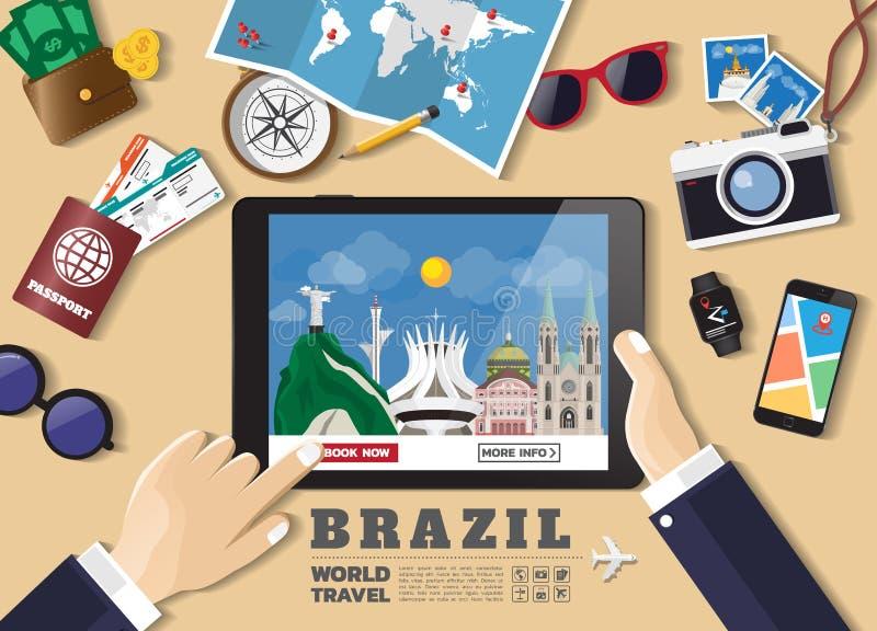 Mano que sostiene el destino elegante del viaje de la reservaci?n de la tableta Lugares famosos del Brasil Banderas del concepto  libre illustration