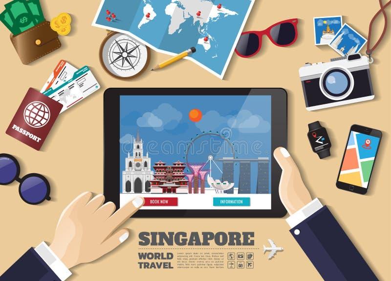 Mano que sostiene el destino elegante del viaje de la reservaci?n de la tableta Lugares famosos de Singapur Banderas del concepto stock de ilustración