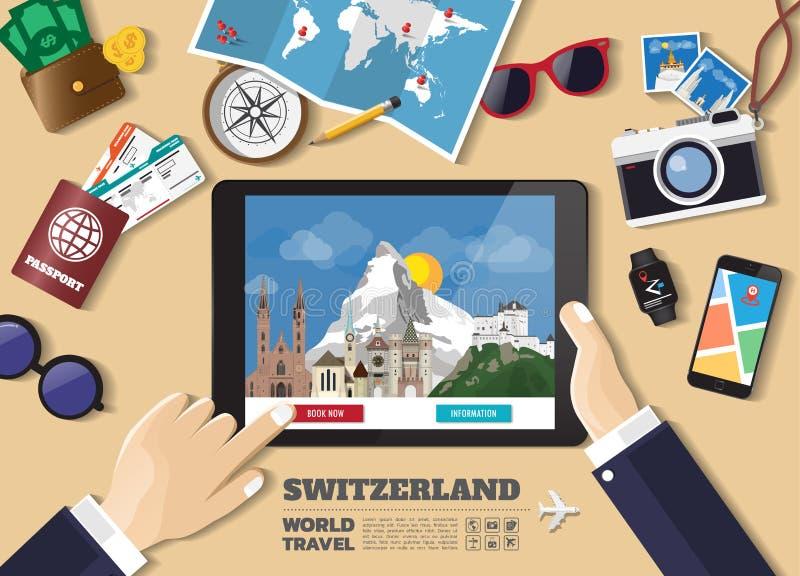 Mano que sostiene el destino elegante del viaje de la reservaci?n de la tableta Lugares famosos de Suiza Banderas del concepto de libre illustration