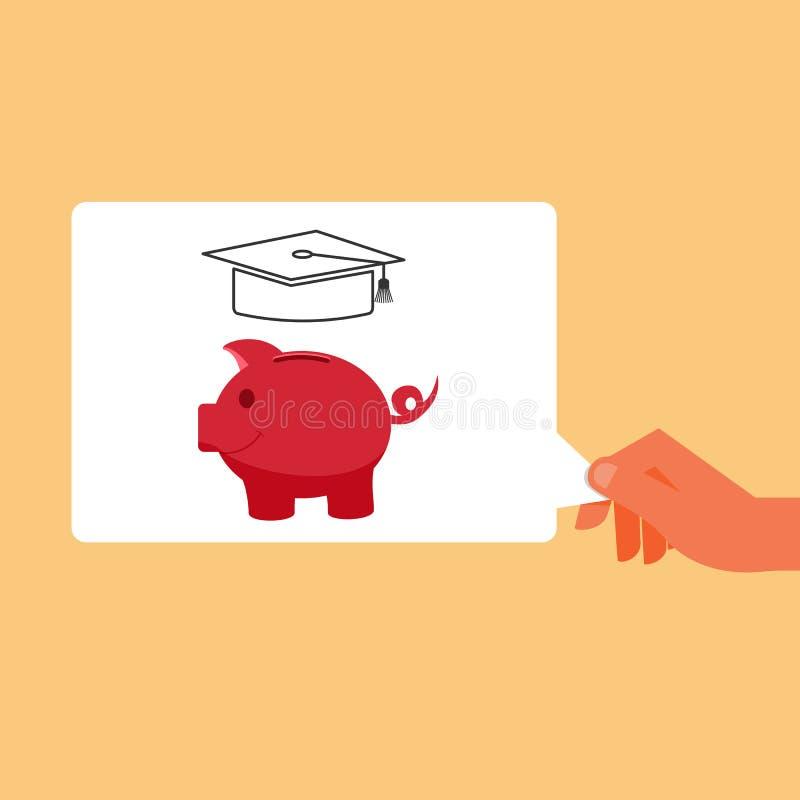 Mano que sostiene el dinero del ahorro de la hucha para el futuro Ahorro para la universidad stock de ilustración