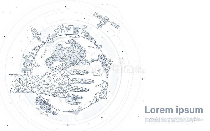 Mano que sostiene el globo Planeta de la tierra con la ciudad, el cohete y el satélite Fondo futurista y de la tecnología ilustración del vector