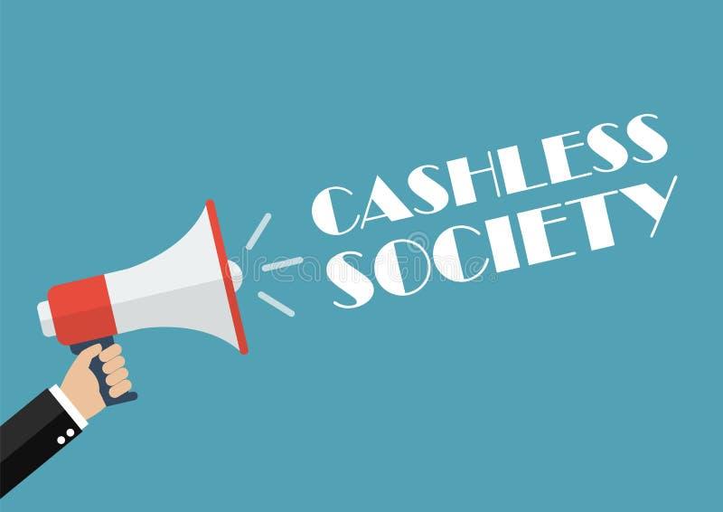 Mano que sostiene el megáfono con la sociedad cashless de la palabra stock de ilustración