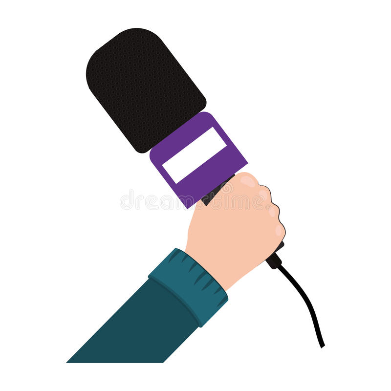 Mano que sostiene el micrófono con la ayuda púrpura stock de ilustración