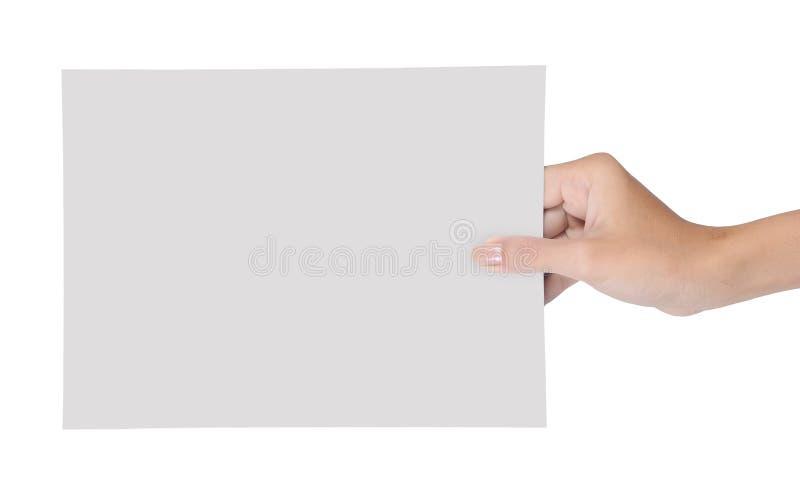 Mano que sostiene el papel en blanco 6 imagen de archivo