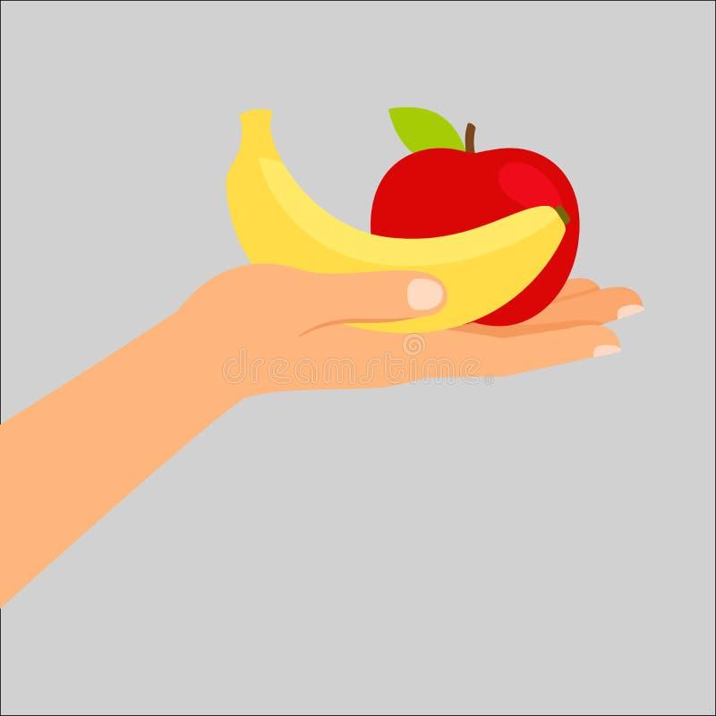 Mano que sostiene el plátano y la manzana stock de ilustración