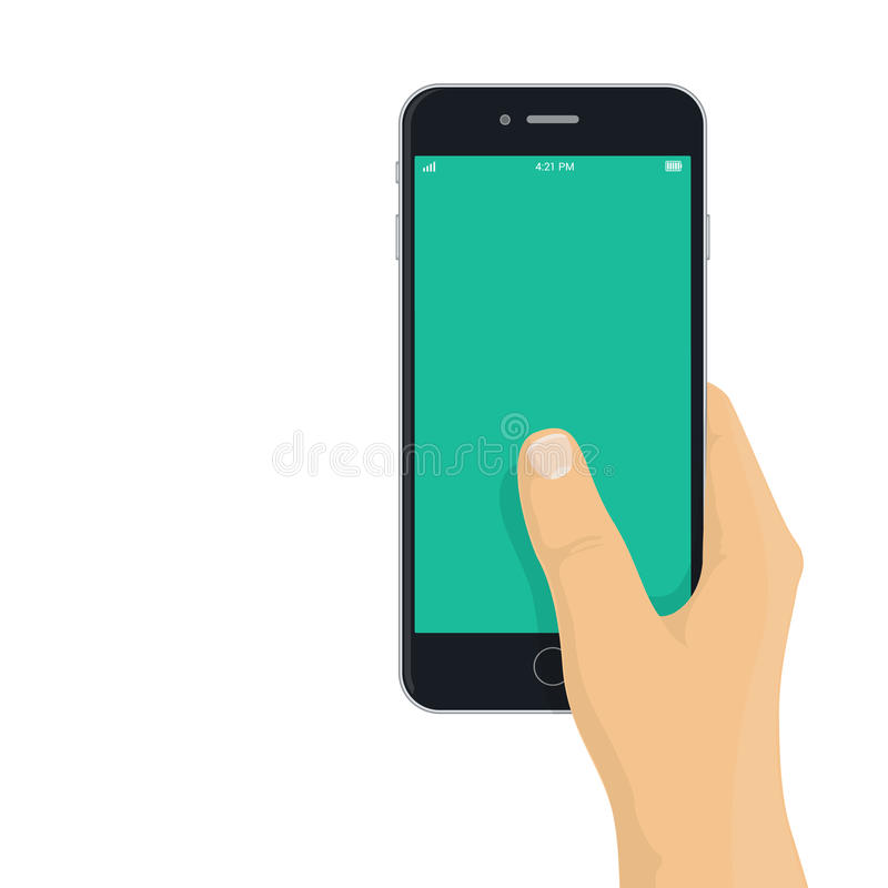 Mano que sostiene el teléfono - ejemplo plano del diseño stock de ilustración