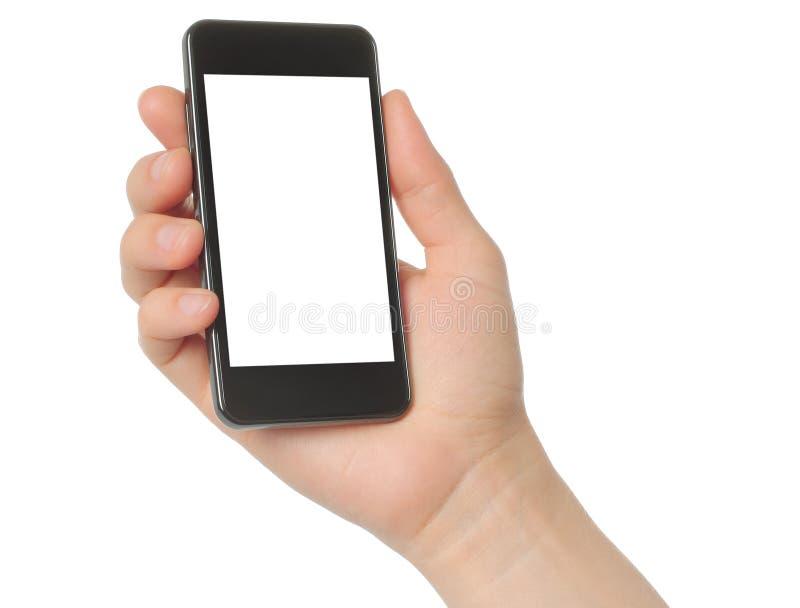 Mano que sostiene el teléfono elegante fotografía de archivo