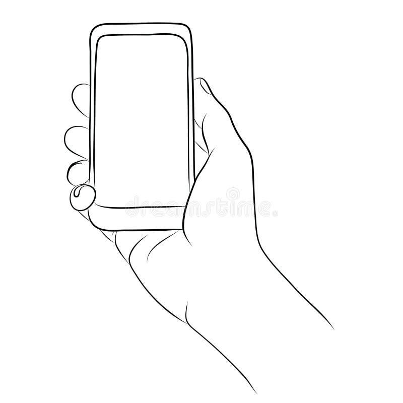 Mano que sostiene el teléfono elegante stock de ilustración