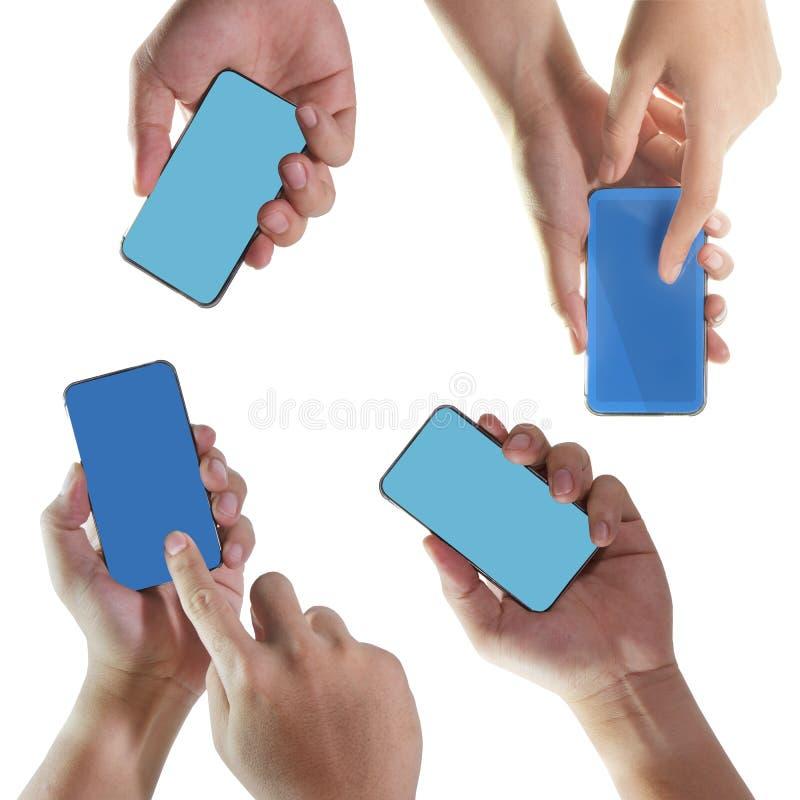 Mano que sostiene el teléfono elegante móvil fotos de archivo