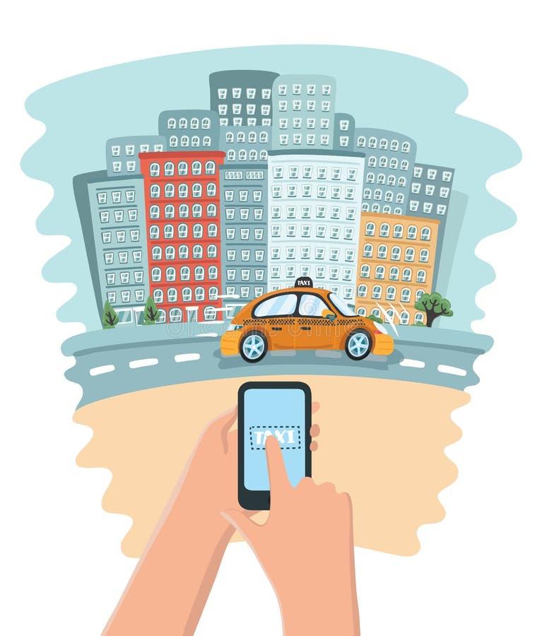 Mano que sostiene el teléfono elegante móvil con el taxi de la búsqueda del app, aplicación de servicios ilustración del vector
