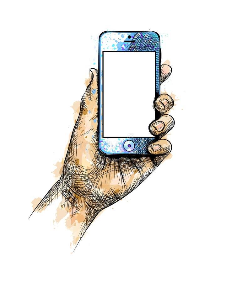 Mano que sostiene el teléfono móvil libre illustration