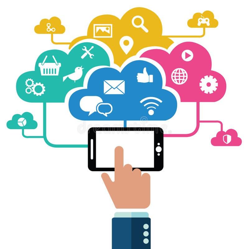 Mano que sostiene el teléfono móvil con los iconos Concepto de comunicación en la red ilustración del vector