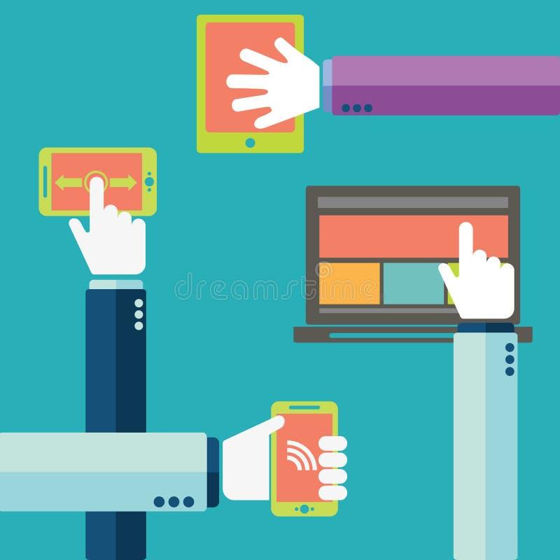 Mano que sostiene el teléfono móvil con los iconos Concepto de comunicación en la red stock de ilustración