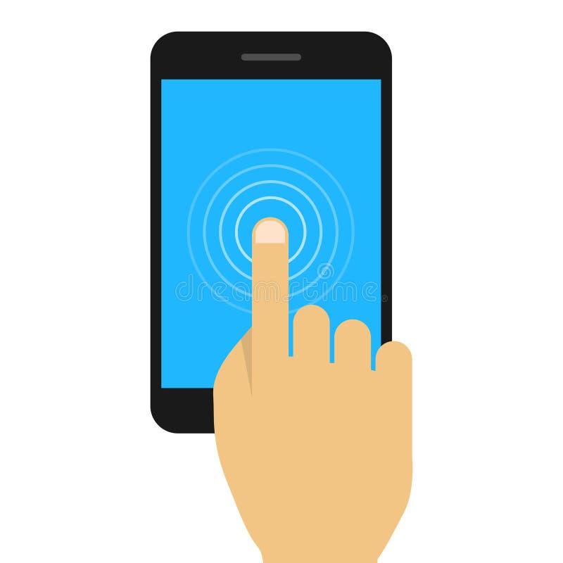 Mano que sostiene el teléfono móvil en estilo plano libre illustration