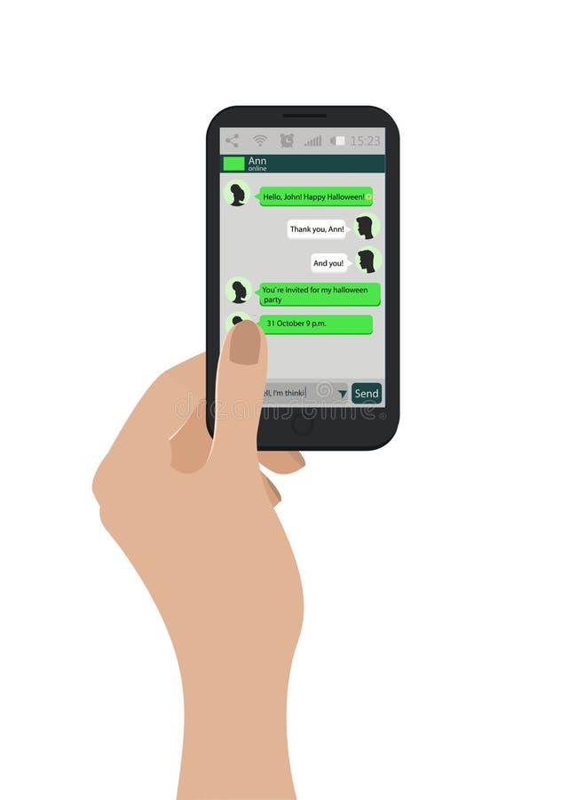 Mano que sostiene el teléfono móvil Ilustración del vector Cajas verdes de la charla en la pantalla del smartphone Concepto de la stock de ilustración