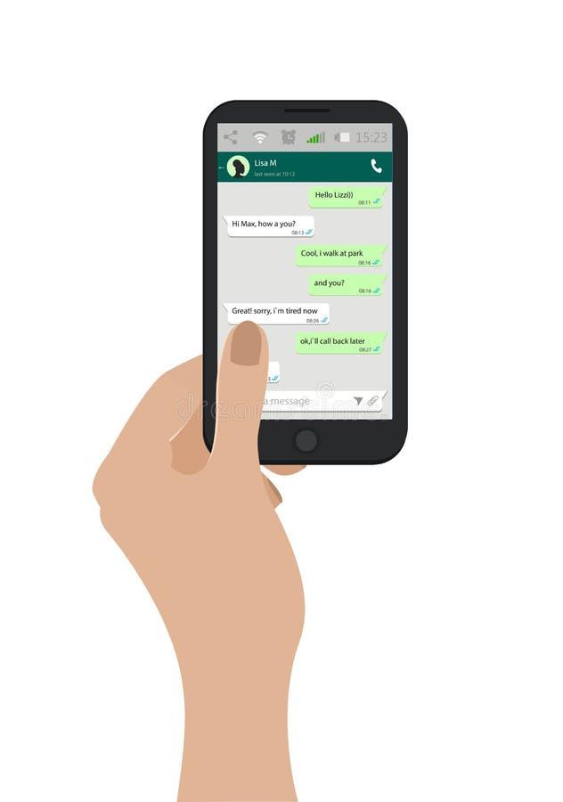 Mano que sostiene el teléfono móvil Ilustración del vector Concepto social de la red Ventana del mensajero Chating y concepto de  libre illustration