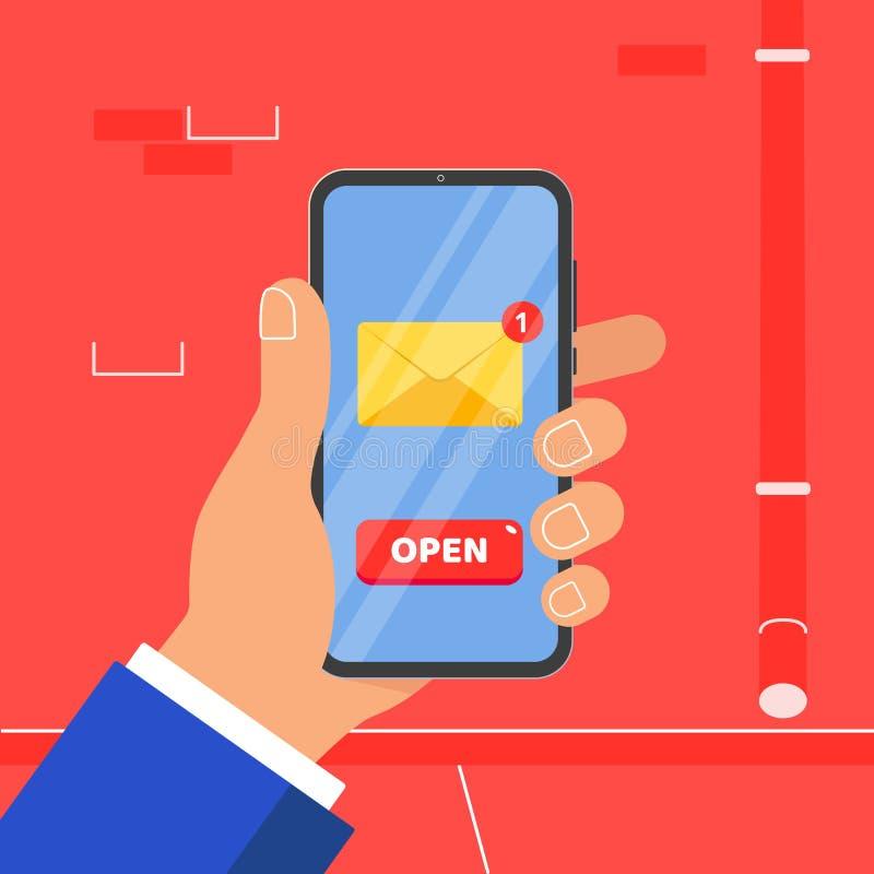 Mano que sostiene el teléfono móvil negro con la muestra ABIERTA del icono del símbolo del botón del nuevo sobre del mensaje en l libre illustration