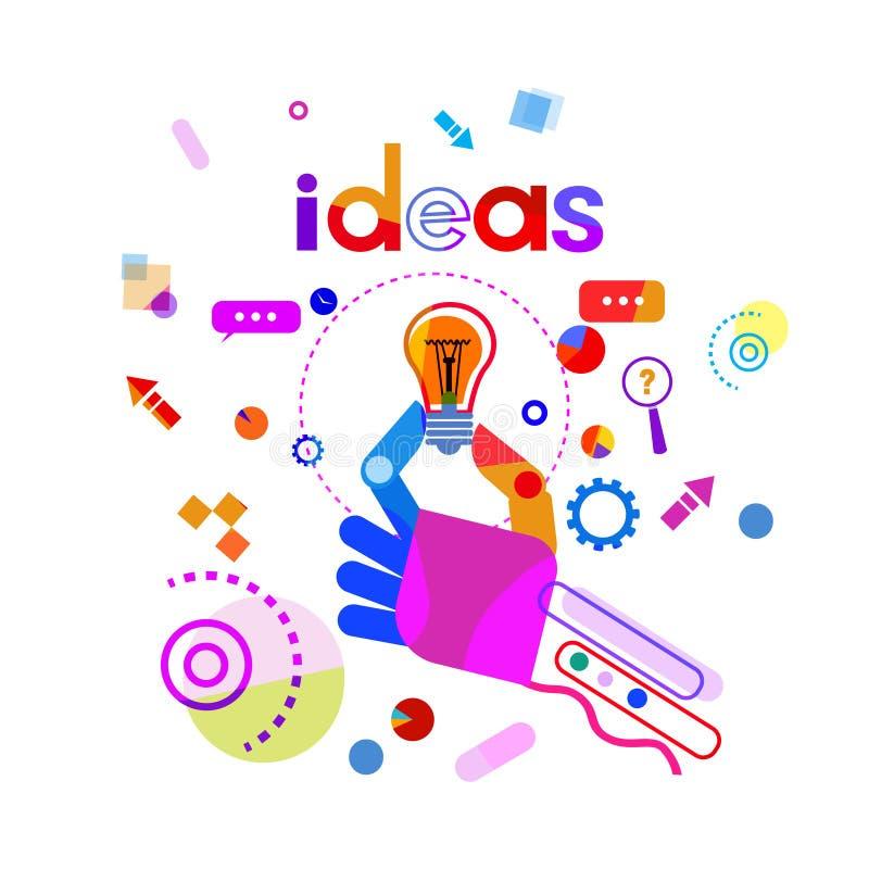 Mano que sostiene la bandera de lanzamiento del concepto del desarrollo de la idea del negocio de la bombilla stock de ilustración