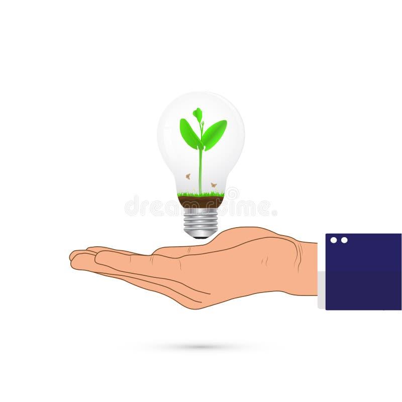 Mano que sostiene la bombilla con el interior verde del brote, concepto ambiental libre illustration