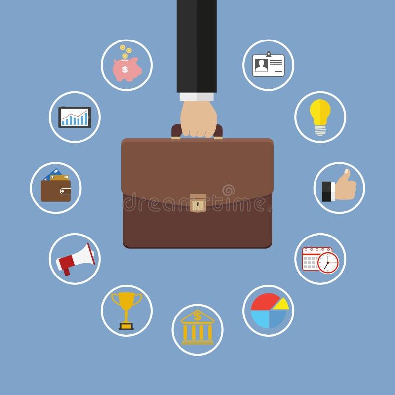 Mano que sostiene la cartera con los iconos Ejemplo plano de la gestión de negocio ilustración del vector