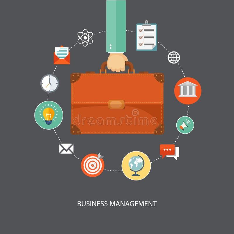 Mano que sostiene la cartera con los iconos Illu plano de la gestión de negocio ilustración del vector