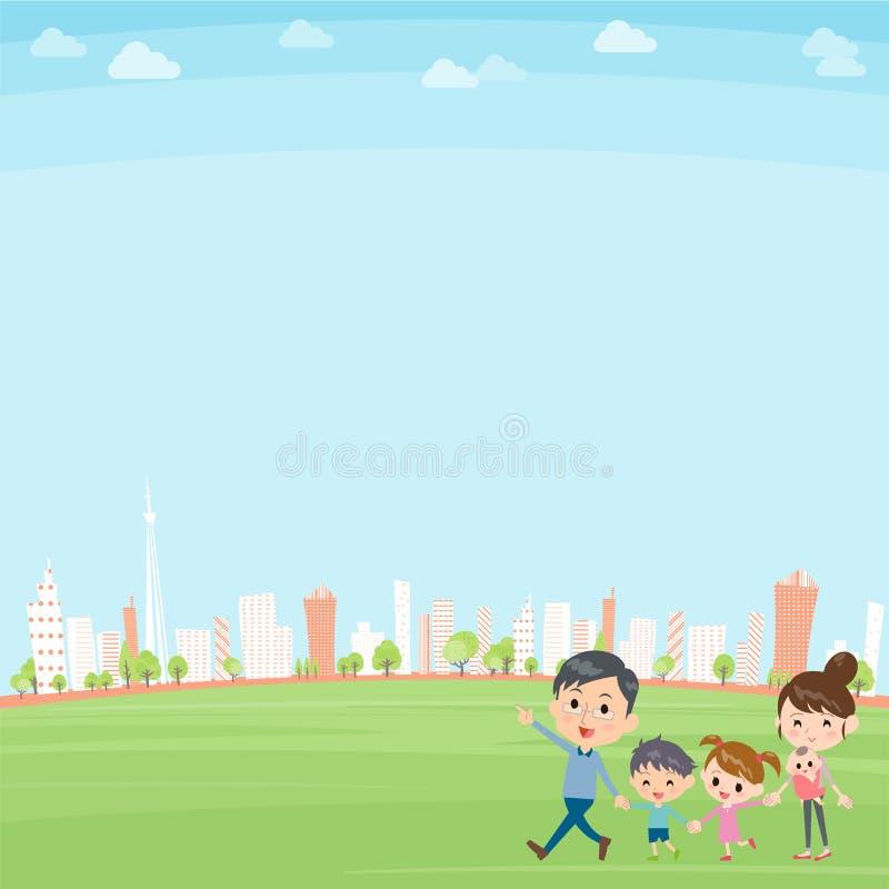 Mano que sostiene la ciudad que camina de las generaciones de la familia 2 stock de ilustración