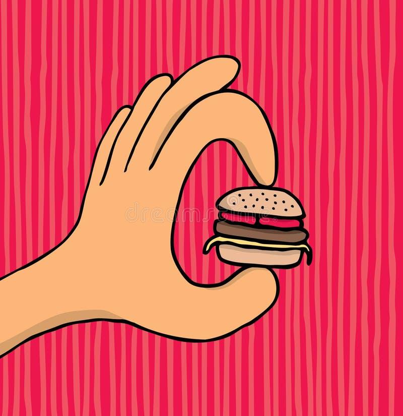 Mano que sostiene la hamburguesa minúscula ilustración del vector