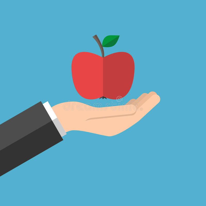 Mano que sostiene la manzana roja ilustración del vector