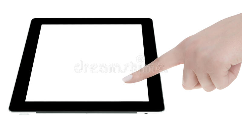 Mano Que Sostiene La Tableta De Digitaces De La Pantalla En Blanco Imagen de archivo