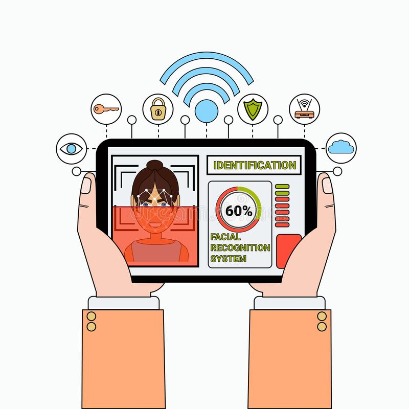 Mano que sostiene la tableta de Digitaces que explora el reconocimiento de cara del usuario y la identificación femeninos del sis libre illustration