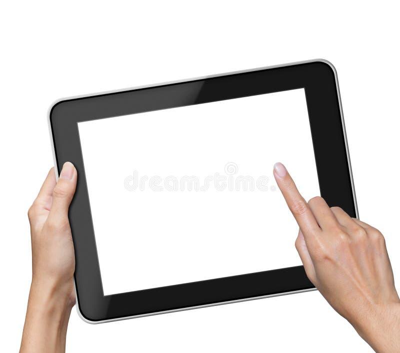 Mano que sostiene la tableta de la pantalla en blanco foto de archivo